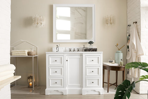 "De Soto 48"" Bright White Single Vanity with Arctic Fall Solid Surface"