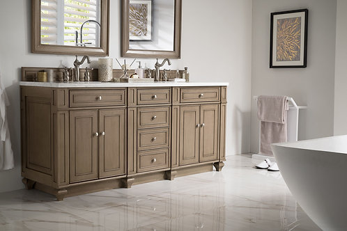 "Bristol 72"" White Washed Walnut Double Vanity with Arctic Fall Solid Surface"