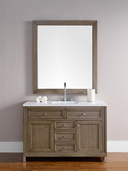"Chicago 48"" White Washed Walnut Single Vanity with Classic White Quartz"