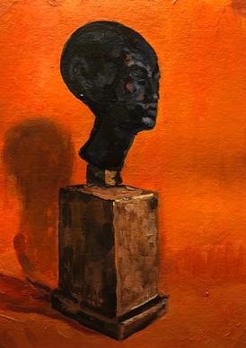 Bronze head of Nefertiti on an orange ground