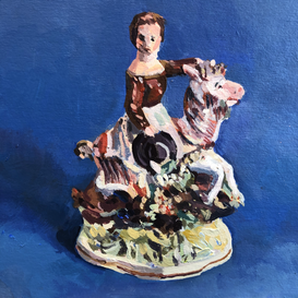Staffordshire girl on a goat on a blue ground
