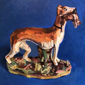 Staffordshire Greyhound on a blue ground