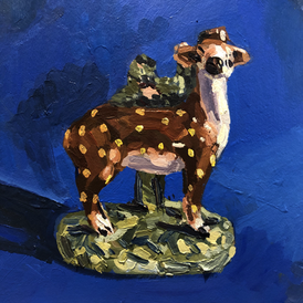 Staffordshire deer on a blue ground