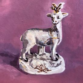 Staffordshire deer on a purple ground