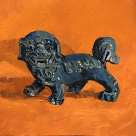 Dog of Fo on an orange ground
