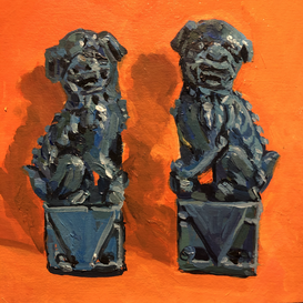 Two Dogs of Fo on an orange ground