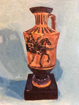 Greek vase on a blue ground