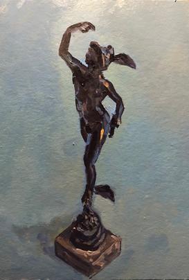 Bronze figure of Mercury on a blue ground