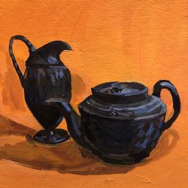 A basalt jug and teapot on an orange ground