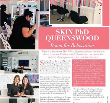 Skin PHD Queenswood, Room for relaxation and People Magazine.
