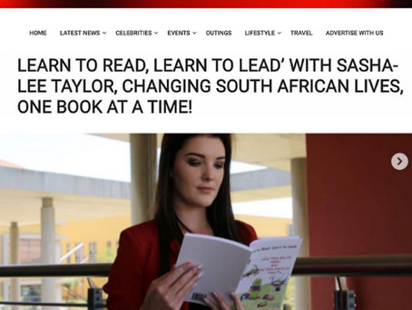 LEARN TO READ, LEARN TO LEAD' WITH SASHA-LEE TAYLOR. - Gauteng Lifestyle Mag.