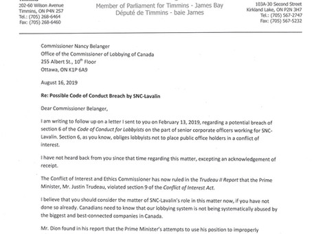 Letter to Commissioner Nancy Belanger re Possible Code of Coduct Breach by SNC-Lavalin