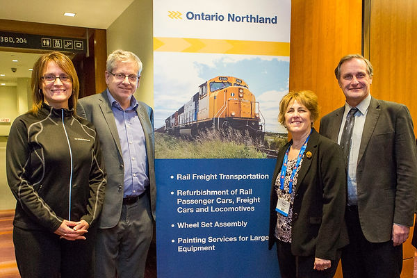Corina Moore, President and CEO of Ontario Northland with MP Charlie Angus, MP Carol Hughes and MPP John Vanthof at PDAC 2018