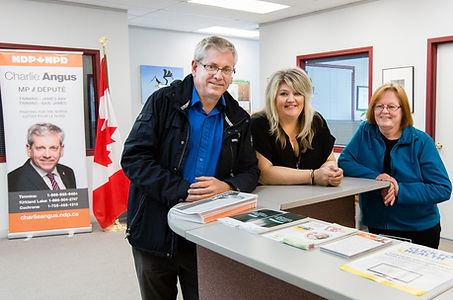 Charlie Angus and constituency staff at Timmins constituency office