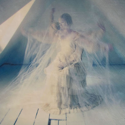 An image of a ghost figure with multiple exposures to express movement.