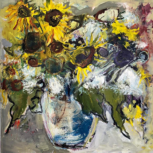 Rainy day sunflowers, 2019 - 121.92 x 121.92 cm