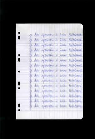 Je dois apprendre à écrire lisiblement (1) - Scan - Feuille à carreaux, stylo bile - 21 x 29,7 cm