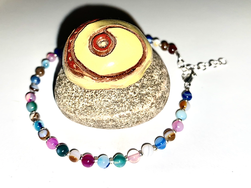 4mm Multicoloured Agate Anklets