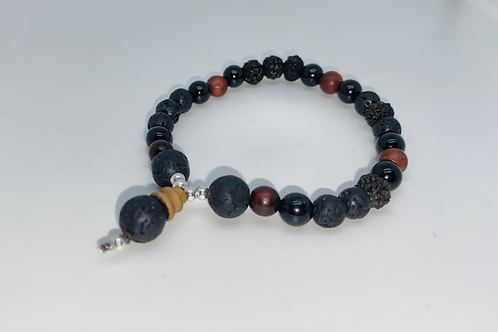 Black Lava, Sandalwood & Tourmaline Mala Bracelet