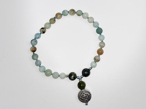 Amazonite & Moss Agate 27 Bead Mala Bracelet