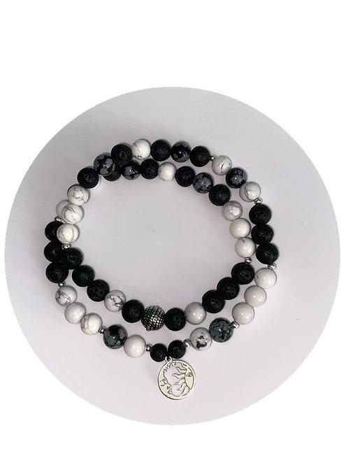 'Sun/Moon' Balance, Ground & Protect 54 Bead Mala Bracelet