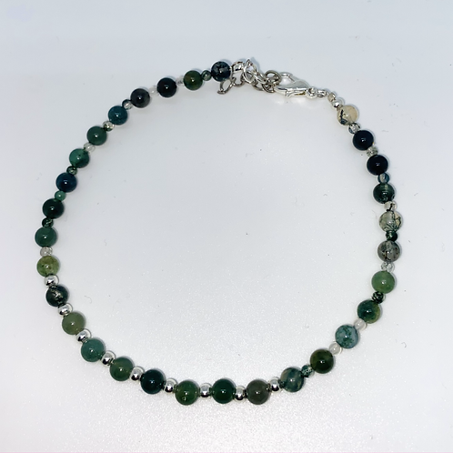 4 & 2mm Moss Agate Anklet
