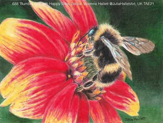 688 'Bumble Bee with Happy Days Dahlia' Vivienne Hallett @JuliaHallettArt