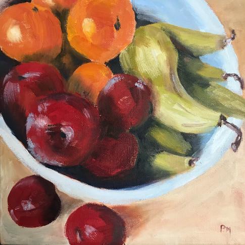 Still Life with Fruit (Oils) 25x25cm Paulette Moore