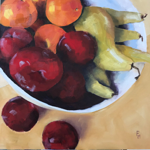 Still Life with Fruit Oils 16 x 16 inche