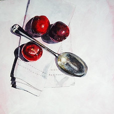 Grandma's Spoon and Plums 20x20cm Acrylic SOLD