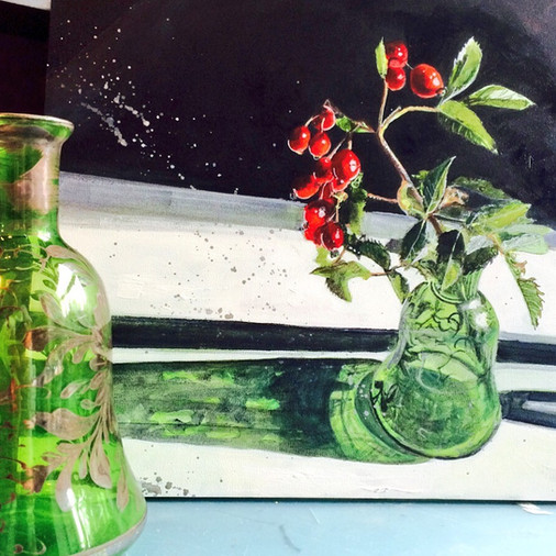 Green Glass and Rosehips SOLD