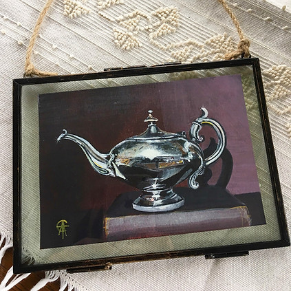 SIlver Teapot 12x16cm Acrylic SOLD