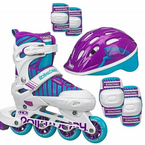Carver Girls Size Adjustable Inline Skates + Protective Pack