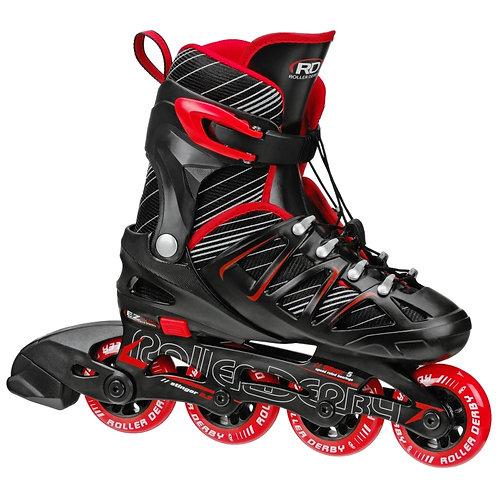 Stinger 5.2 Boys Size Adjustable Inline Skates - black and red