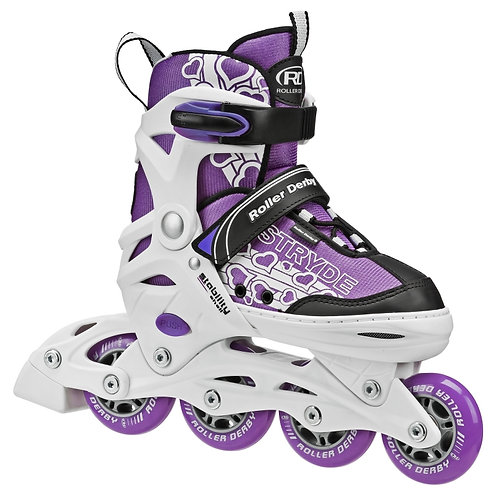 Stryde Girls Size Adjustable Inline Skates - purple and white