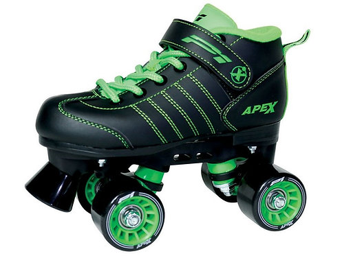 Apex P1 Kid's Skates -black with green laces and wheels