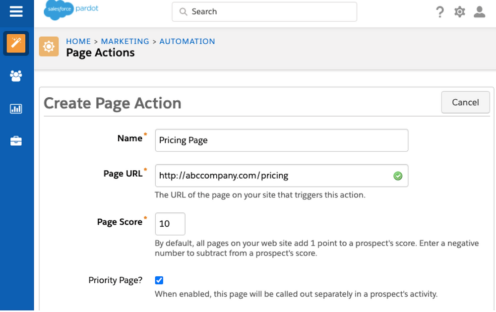 Create Page Action