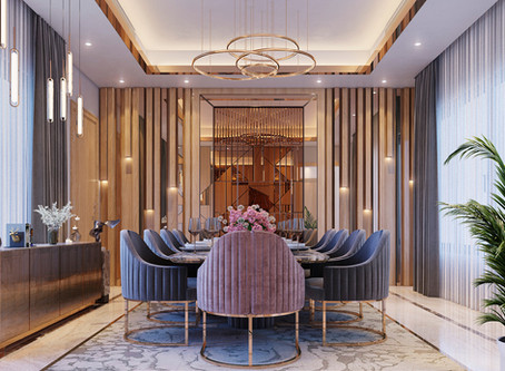 Interior design of a dinning room