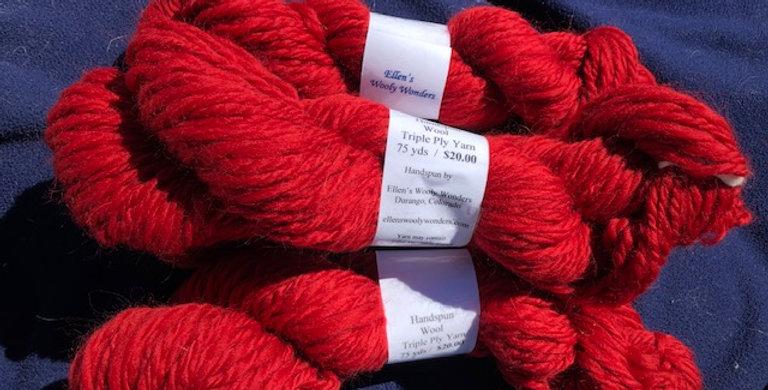 Red Triple Ply Wool Yarn