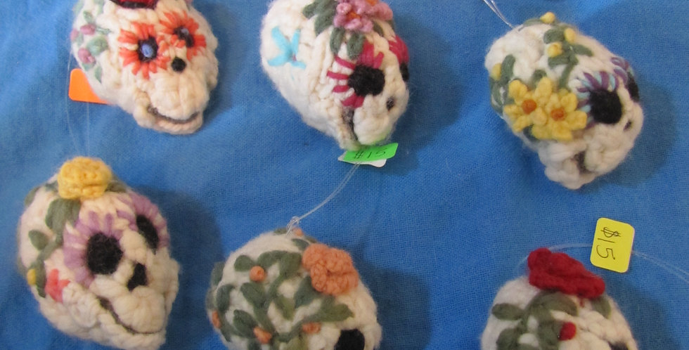 3 D Day O' Dead  Embroidered Ornaments