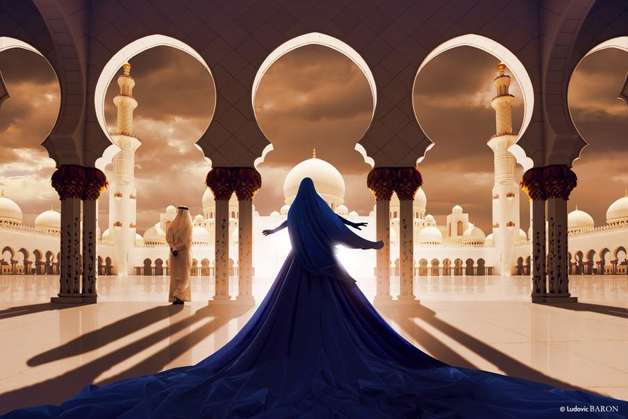 La femme en bleu face à la mosquée blanche (2016)