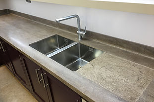 corian worktop with stainless steel sink and drainer