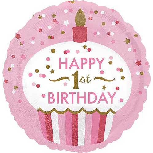 """Фольгированные шары с рисунком """"HAPPY BIRTHDAY """" для девочки"""