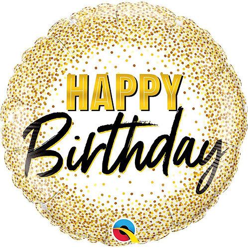 """Фольгированные шары с рисунком """"Happy Birthday золото"""""""