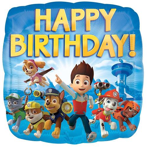 """Фольгированные шары с рисунком """"happy birthday"""" щенячий патруль"""