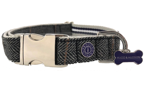Hugo & Hudson Grey Checked Herringbone Collar XS-L