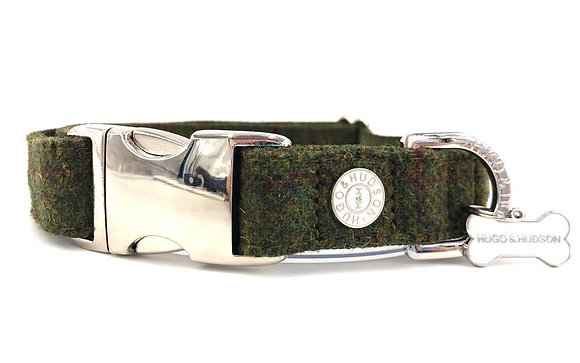 Hugo & Hudson Dark Green Tweed Collar XS-L
