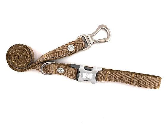 Hugo & Hudson Caramel Checked Herringbone Tweed Leash XS/S or M/L