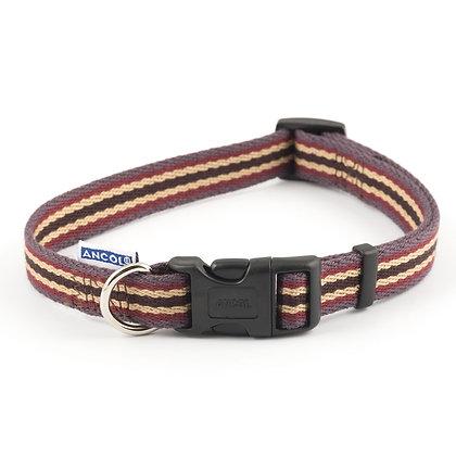 Ancol Cotton Stripe Collar Damson 45-70cm Size 5-9