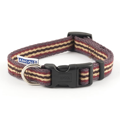 Ancol Cotton Stripe Collar Damson 20-30cm Size 1-2